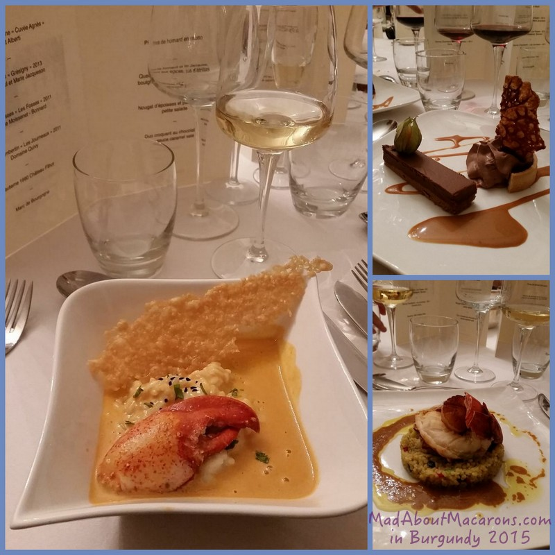 gourmet French menu by Toma at the Chateau Tailly Burgundy