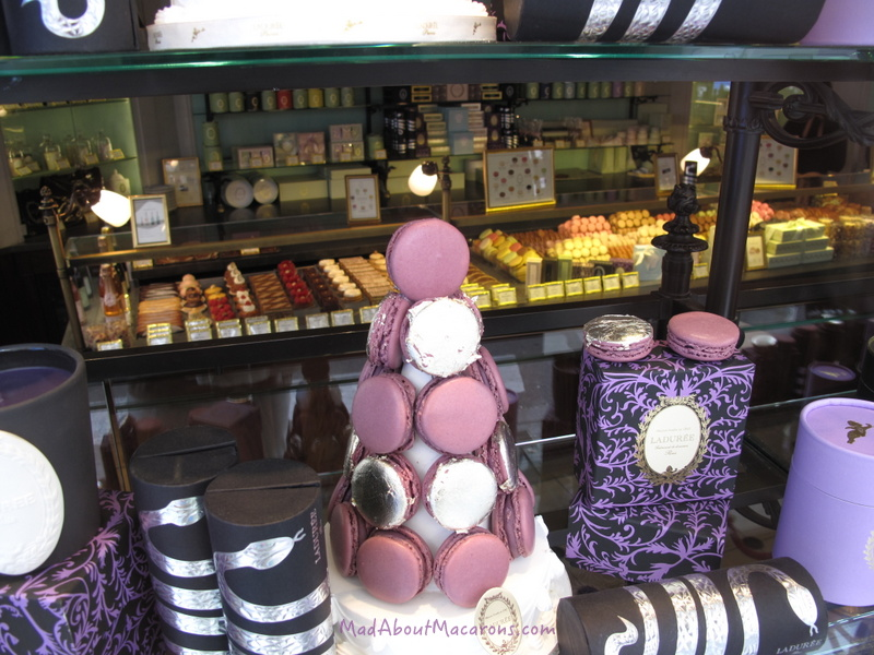 La Duree window of macarons and looking into patisseries inside in Paris