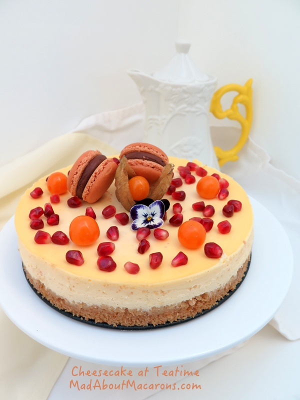 Orange Cinnamon cheesecake and macarons