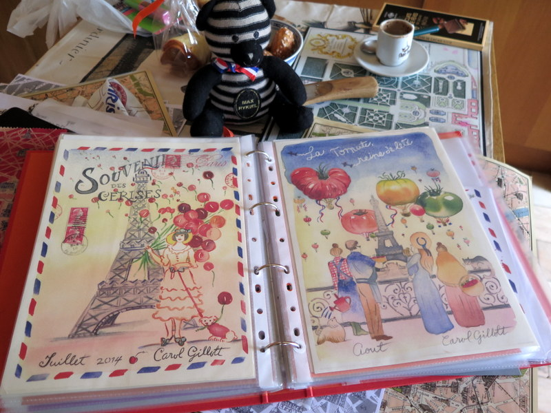 parisbreakfasts bear showing Paris sketch letters by Carol Gillott