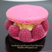 Giant raspberry macaron with passion fruit cream filling