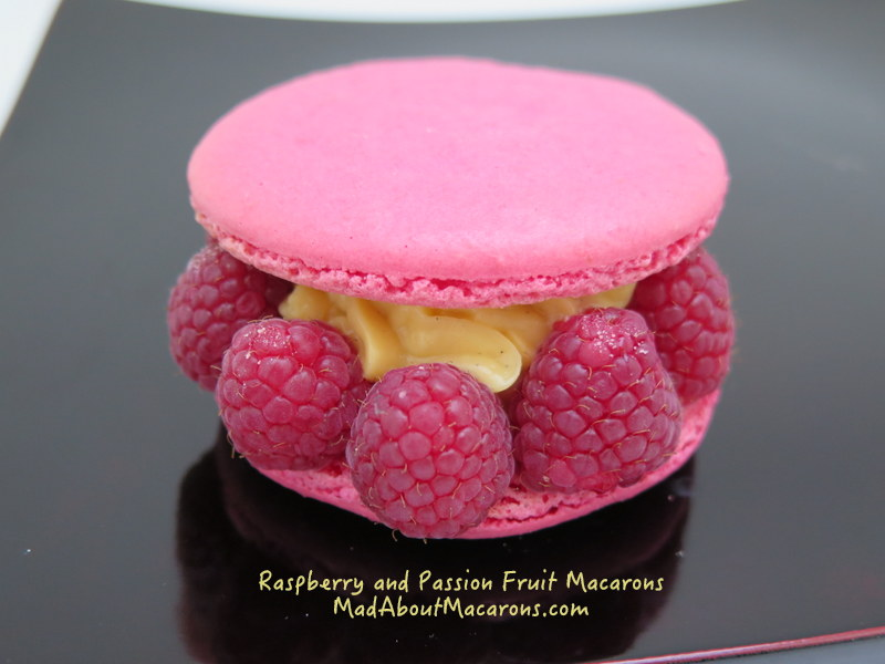 Giant raspberry macaron with passion fruit cream