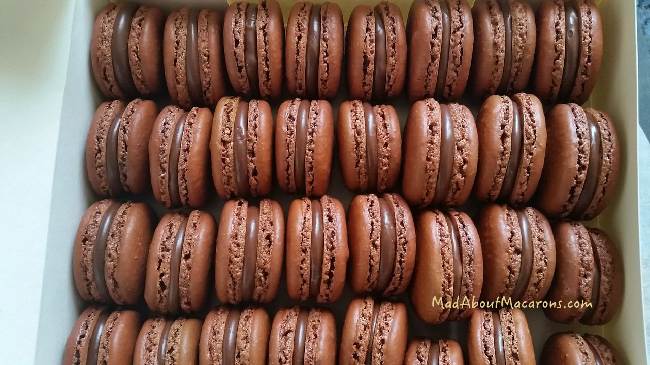 box of chocolate macarons