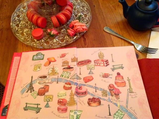 pastry map of Paris by artist Carol Gillott in Teatime in Paris