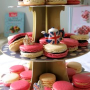 Royal macarons tiered stand