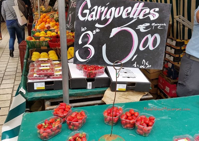 Gariguette strawberries at the French market