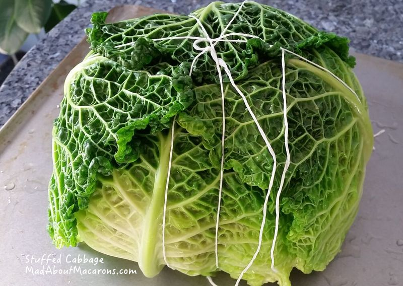 cabbage parcel tied up with string