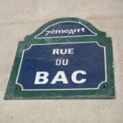 Rue du Bac street sign in Paris