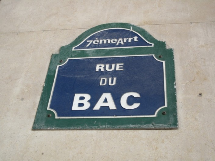 Rue du Bac street sign in Paris
