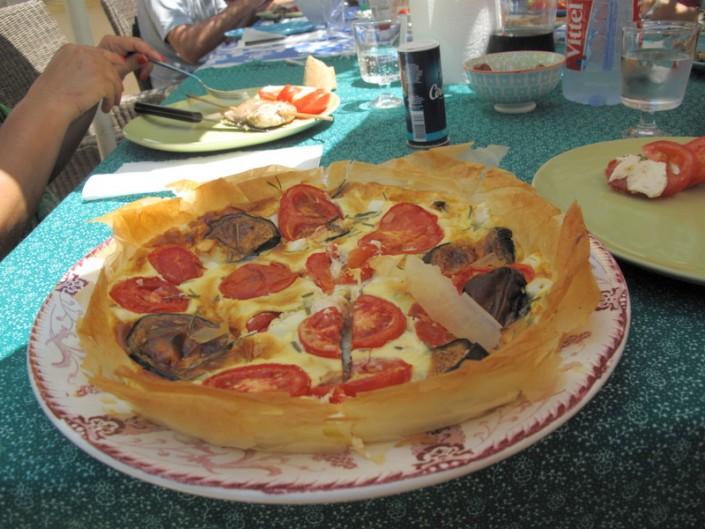 Aubergine tomato and filo pastry tart Provence
