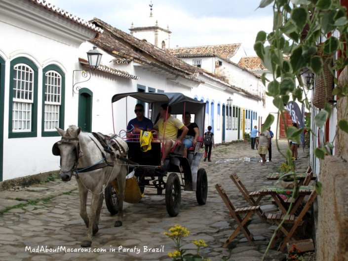 Horse-drawn carriage in Paraty Brazil