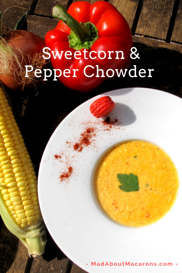Sweetcorn red pepper soup