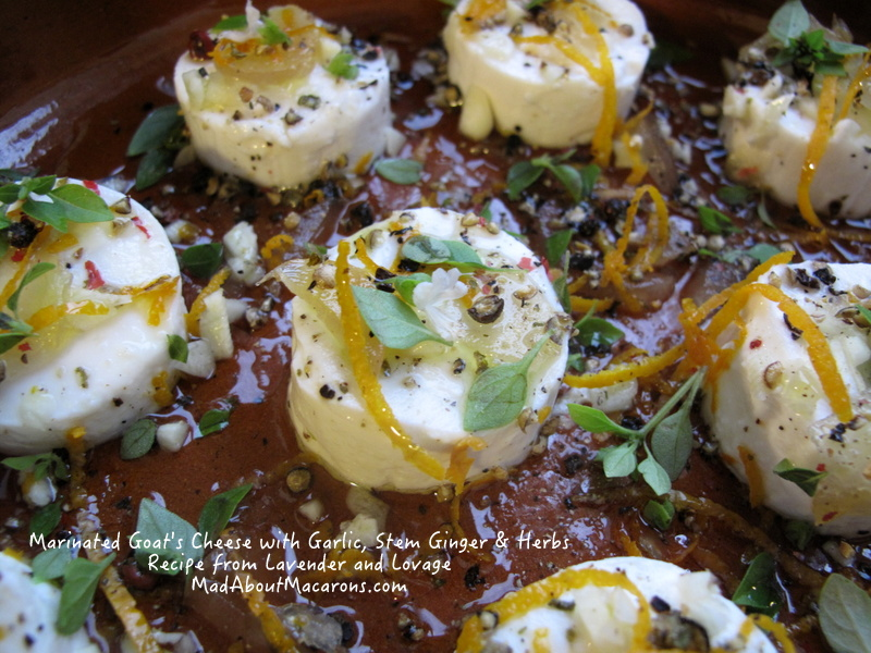 Marinated goats cheese with ginger and garlic recipe