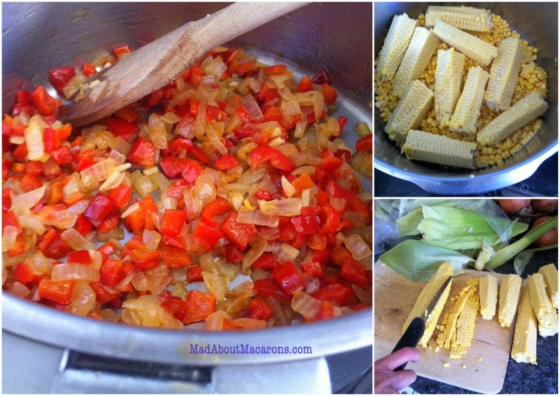sweetcorn red pepper soup - method