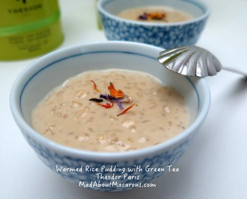 Creamy warm rice pudding recipe using green tea