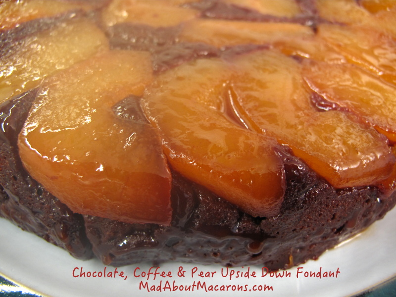 upside down chocolate caramel pear coffee cake