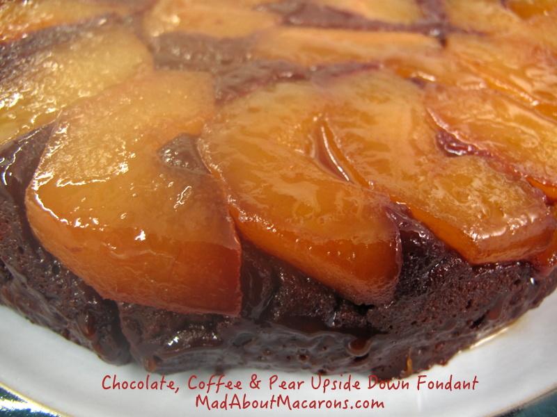 upside down chocolate caramel pear coffee cake