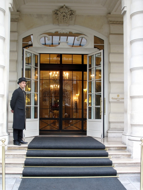 Entrance to Shangri-La Palace hotel Paris
