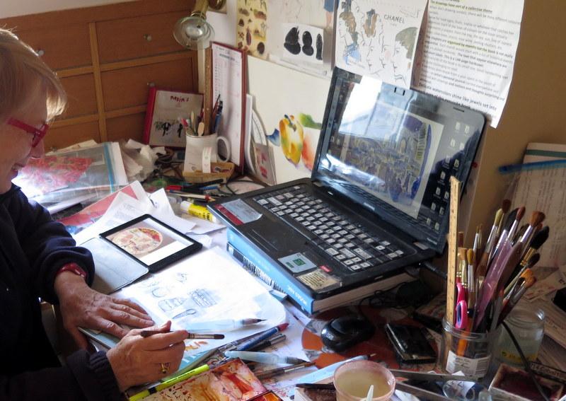 Carol Gillott of Paris Breakfasts sketching maps