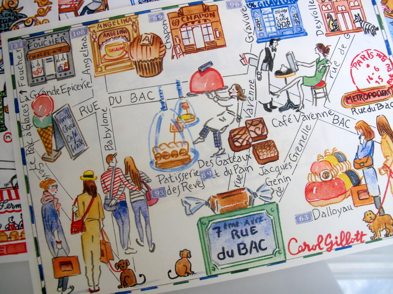 Rue du Bac map in watercolor by Carol Gillott