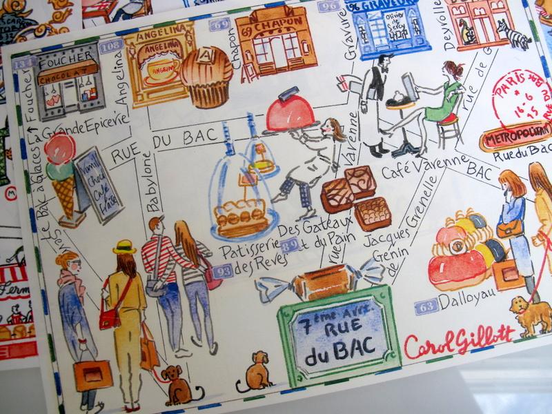 Rue du Bac map in watercolor by Carol Gillott