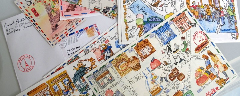 Paris maps in watercolour by artist Carol Gillott