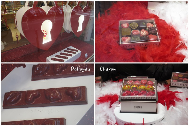 Chapon and Dalloyau chocolate shops St Valentine Paris