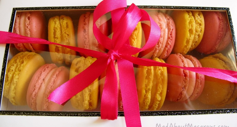 mad about macarons gift box pink ribbon