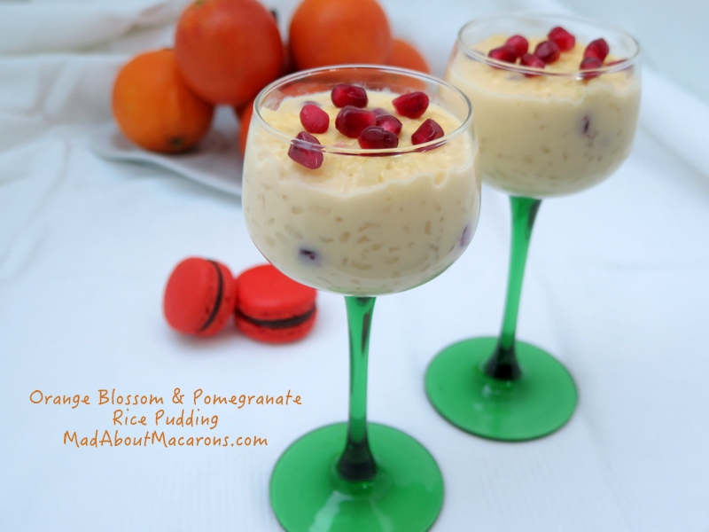 orange blossom and pomegranate valentine rice pudding recipe