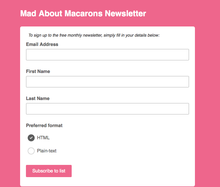 Mad About Macarons monthly newsletter screenshot