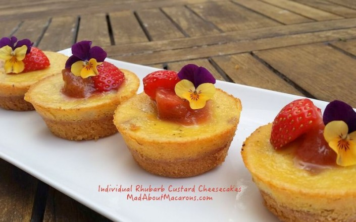 individual baked cheesecakes rhubarb and custard with strawberry