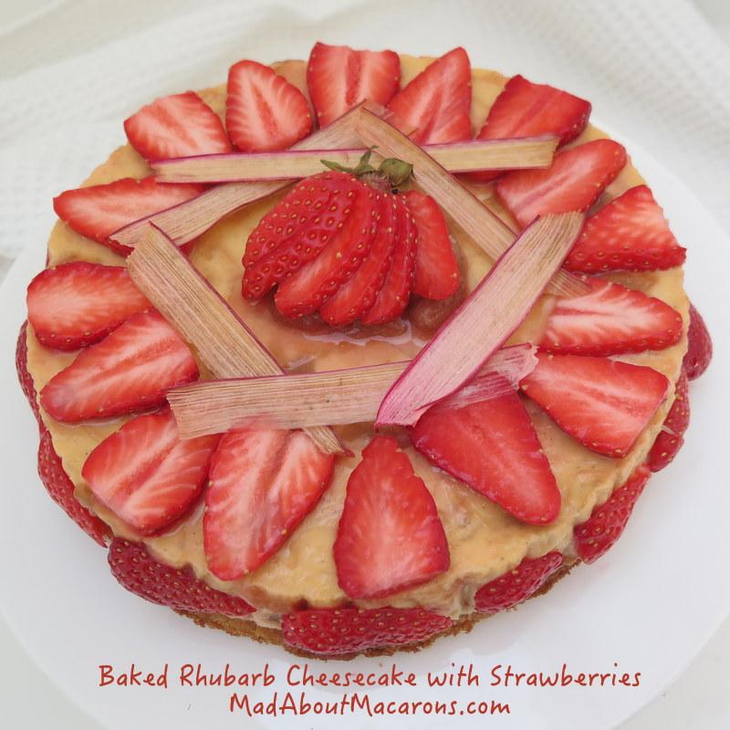 Baked rhubarb and custard cheesecake with strawberries