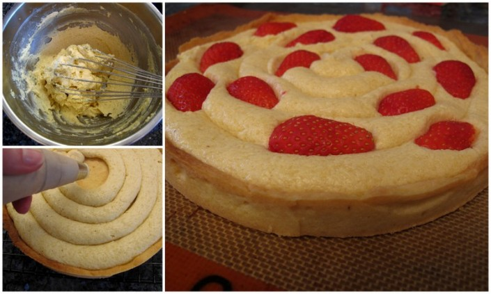 method how to make almond strawberry rhubarb tart