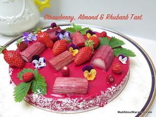 strawberry almond rhubarb tart