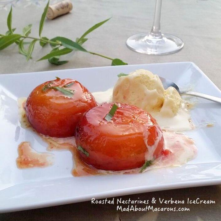 roasted nectarines in honey with verbena ice cream