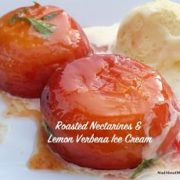 Roasted Nectarines Verbena ice cream