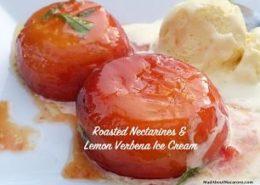 Roasted Nectarines Verbena ice cream