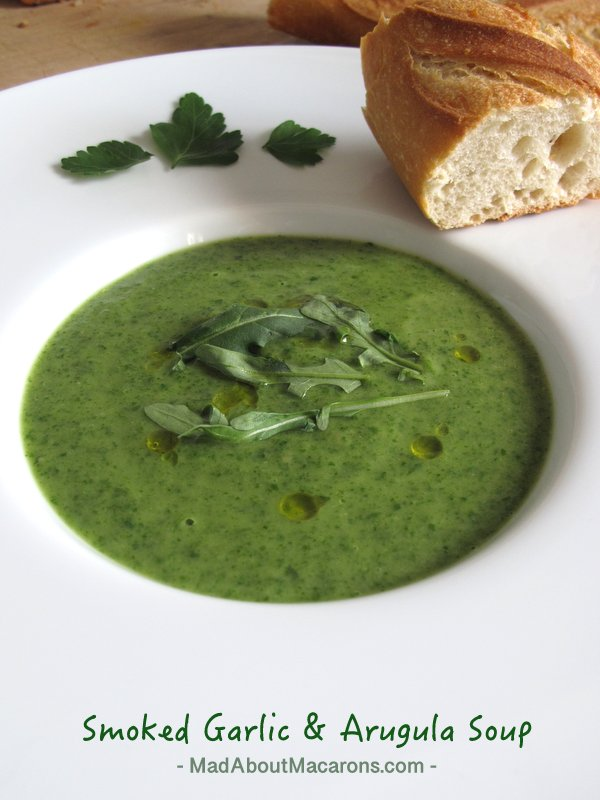 Smoked garlic arugula soup