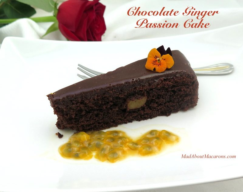 chocolate ginger passion cake slice