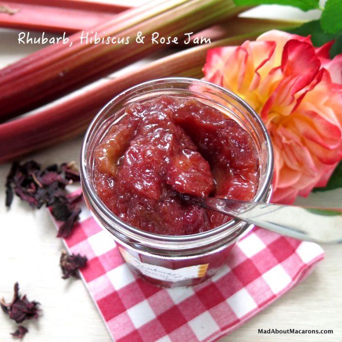 rhubarb hibiscus rose jam