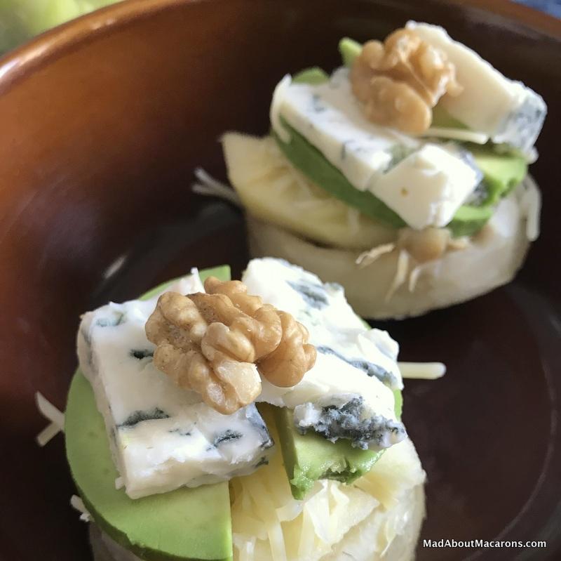 Baked Roquefort artichokes pear avocado