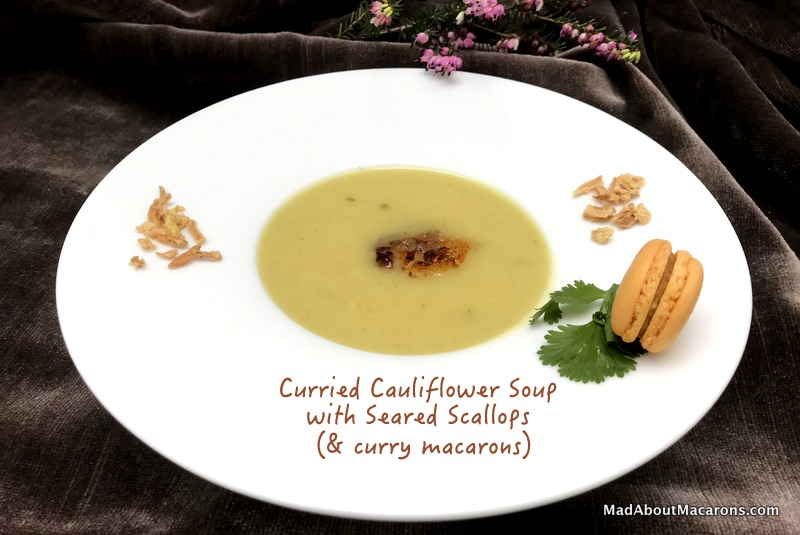 curried cauliflower soup with seared scallops