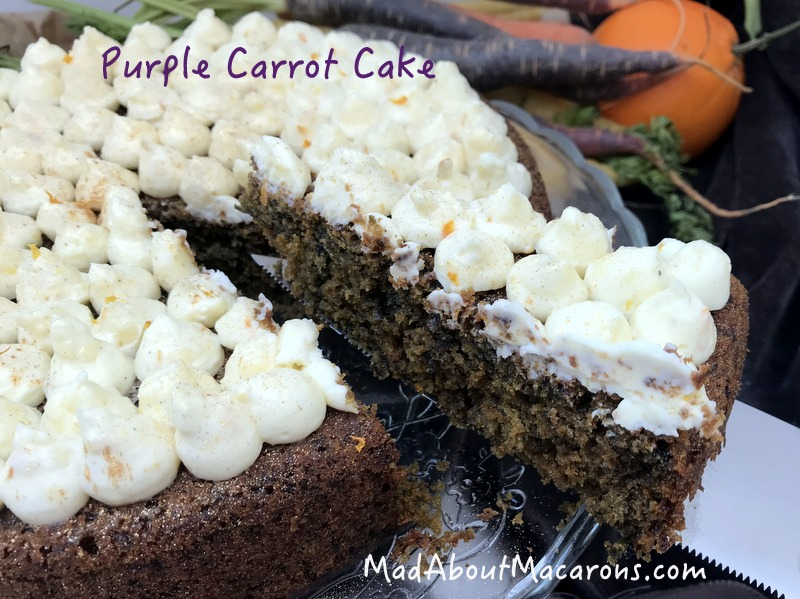 Purple carrot cake with orange and reduced sugar