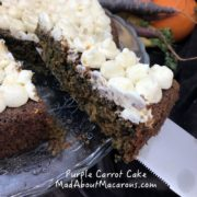 Purple Carrot Cake with reduced sugar and orange zest