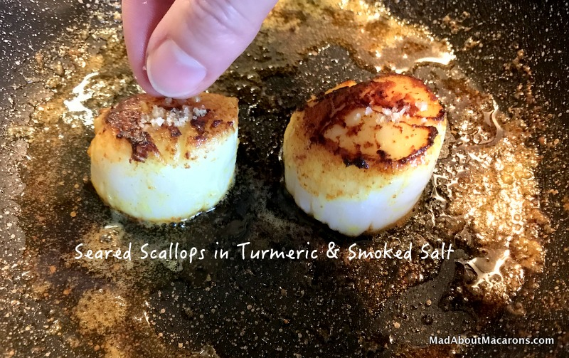 seared scallops in turmeric and smoked salt
