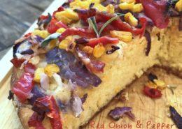 cheesy red onion pepper cornbread