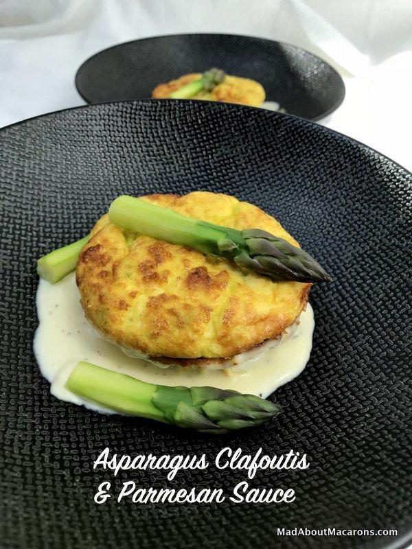 Asparagus Clafoutis with parmesan sauce