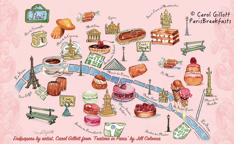 Carol Gillott's map in Teatime in Paris