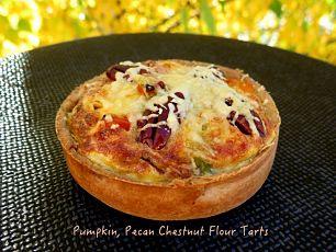 pumpkin pecan chestnut flour tart
