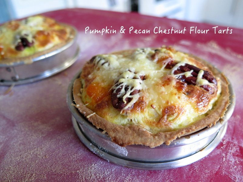 pumpkin pecan and chestnut flour tarts